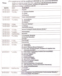 hpbose date sheet 2020 11th class plus one download subject wise regular