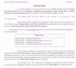 wbuttepa b.ed m.ed result release notice