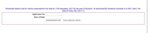 NIELIT Technical Assistant Admit Card 2020