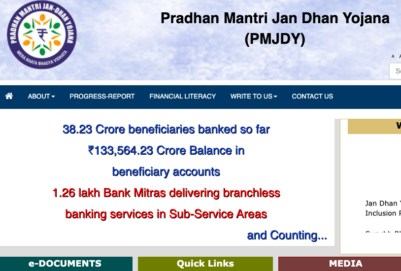 pm jan dhan yojana account pmjdy bank payment status online