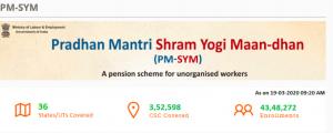 pradhan mantri shram yogi maan dhan yojana registration online how to do through csc pmsym