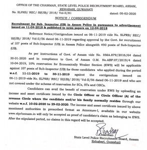 slprb assam police si ews notification