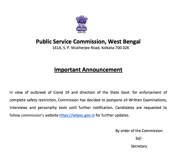wbpsc icds supervisor result delay notice