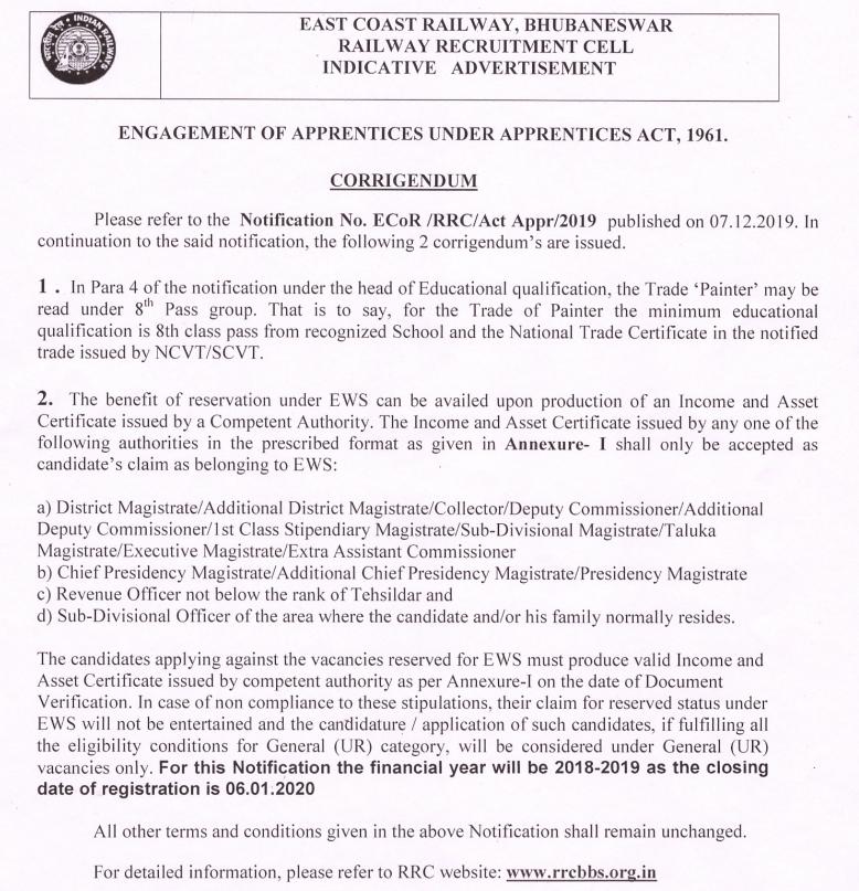 ecr apprentice merit list postponement