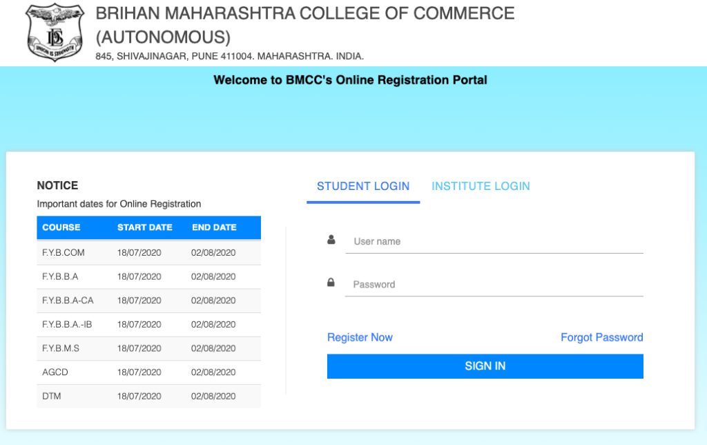 BMCC Pune Admission 2020 - Application form link for students