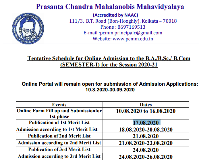Prasanta Chandra Mahalanobis Mahavidyalaya Merit List 2020 Publishing Date 17 August (Today)