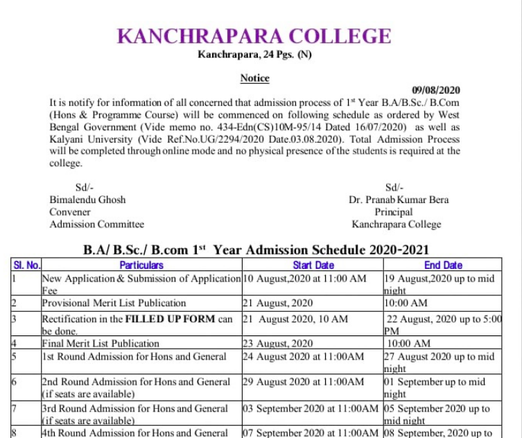kanchrapara college merit list 2020-21 ba bsc bcom Admission Related news upload here