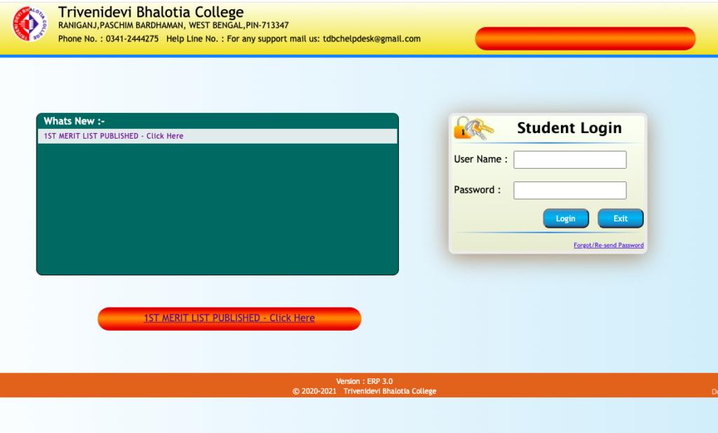 how to download tdb college asansol merit list 2020-21