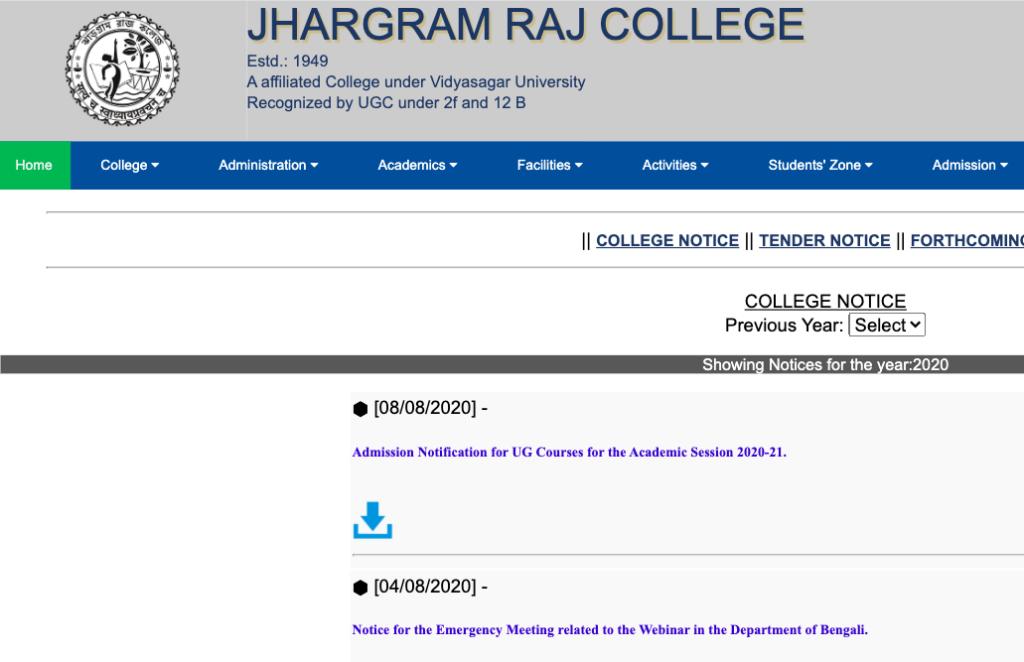 jhargram raj college Merit List 2020-21 ug online form for ba bsc bcom