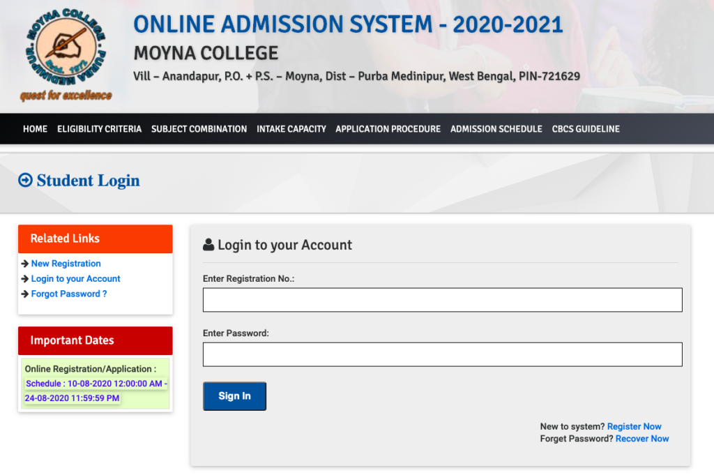 Moyna College Merit List 2020 checking process & link