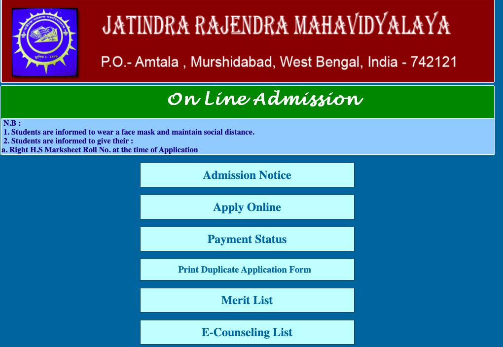 jatindra rajendra mahavidyalaya merit list release notice 2020