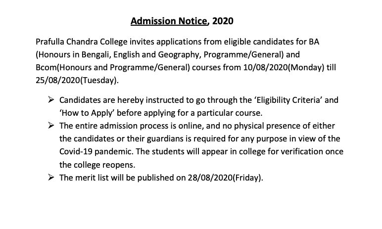 prafulla chandra college merit list notice 2020-21