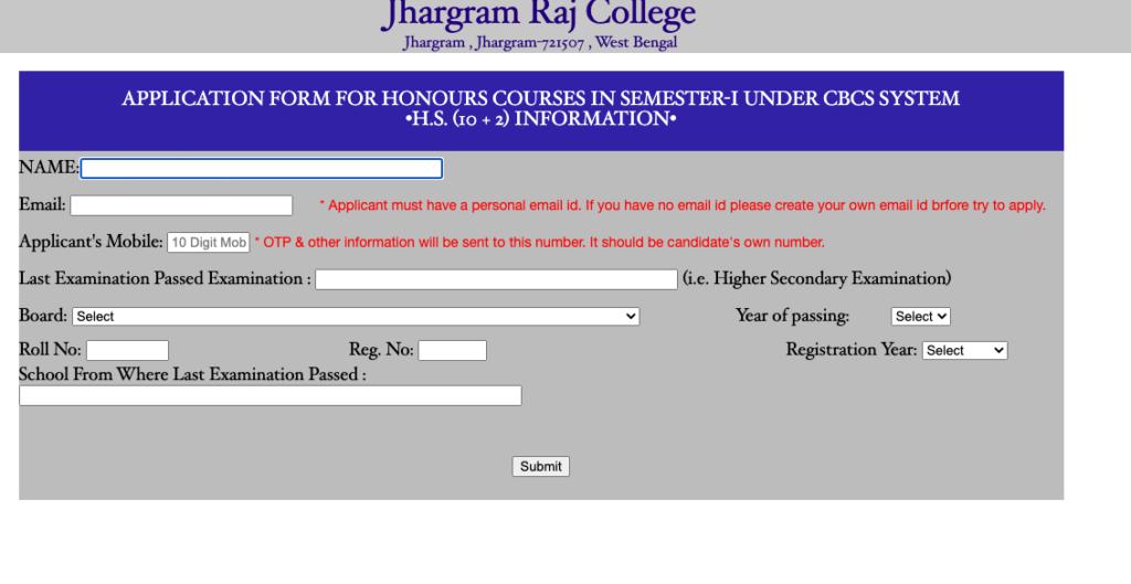 Jhargram Raj College Merit List 2020 Online Admission Form Fill up 2020-21 Honours & General