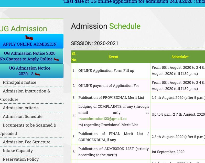 maulana azad college merit list schedule 2020-21