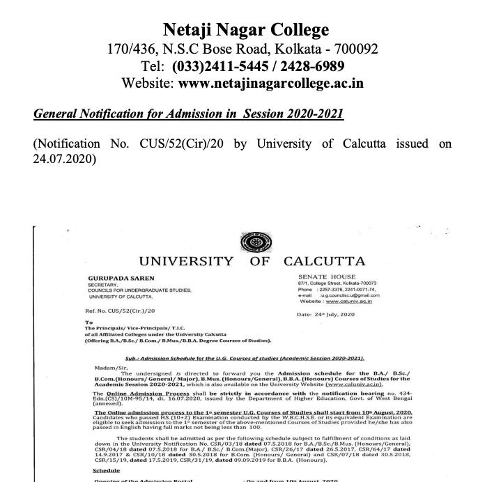 netaji nagar evening college merit list 2020 notice