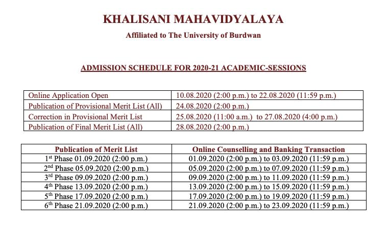 khalisani mahavidyalaya merit list notice 2020 schedule download