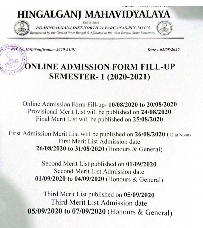 Hingalganj Mahavidyalaya merit list notice 2020