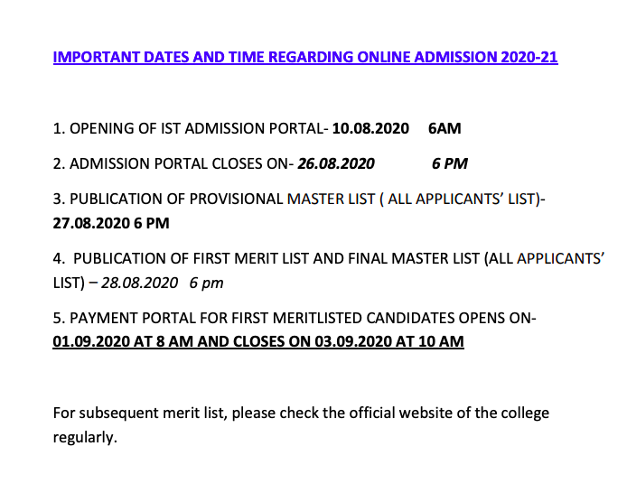 Sivanath Sastri College Merit List notice 2020-21