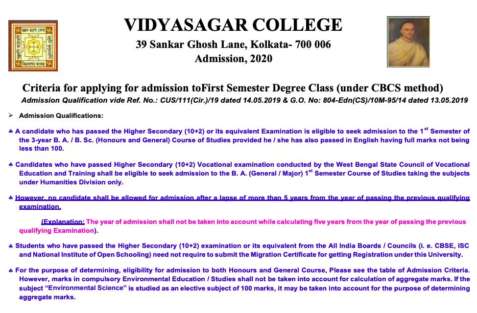 Vidyasagar College admission eligibility criteria
