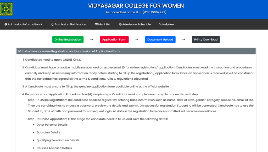 Vidyasagar Women's College merit list schedule notice 2020-21
