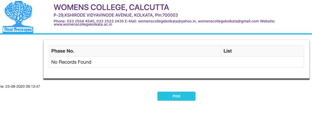 Women's College Calcutta Merit List 2020 Check & Click in this link