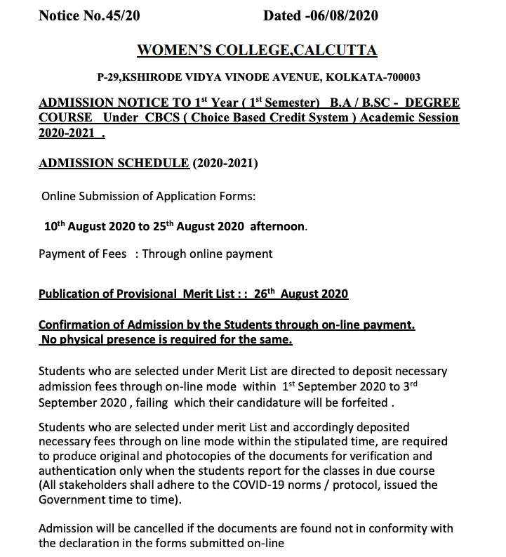 Women's College Calcutta Merit List 2020 Important Date for Admission Published here
