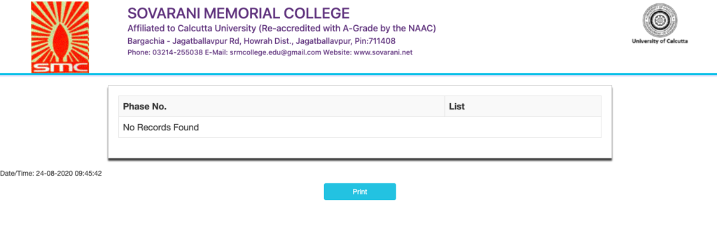 Sovarani Memorial college merit list checking window