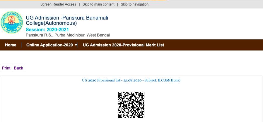 Panskura Banamali College provisional 1st admission merit list 2020-21