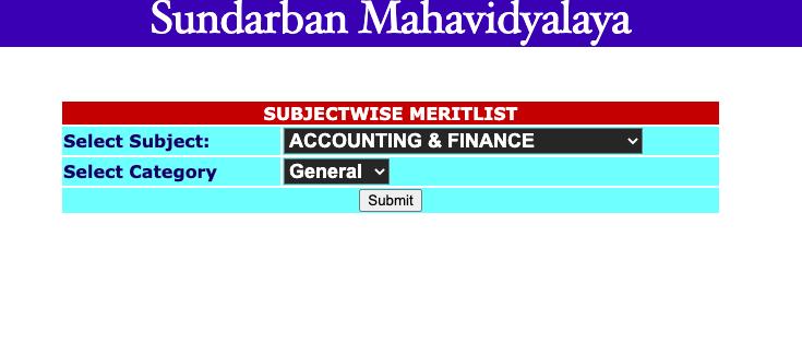 Sundarban Mahavidyalaya merit list link download