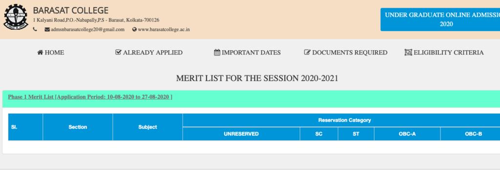 barasat college merit list downloading links
