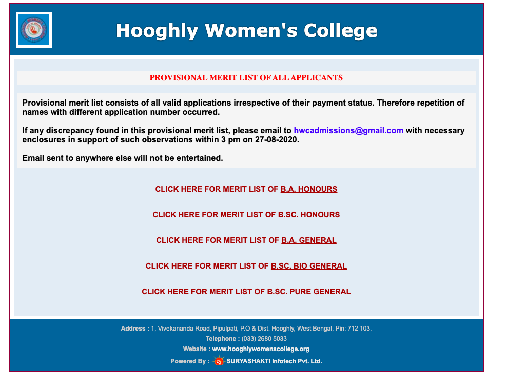 Hooghly Women's College Merit List Notice 2020-21 Provisional List Released