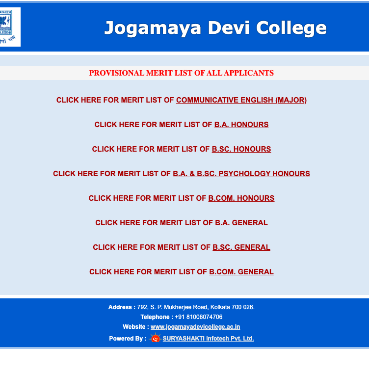 jogamaya devi college merit list download window