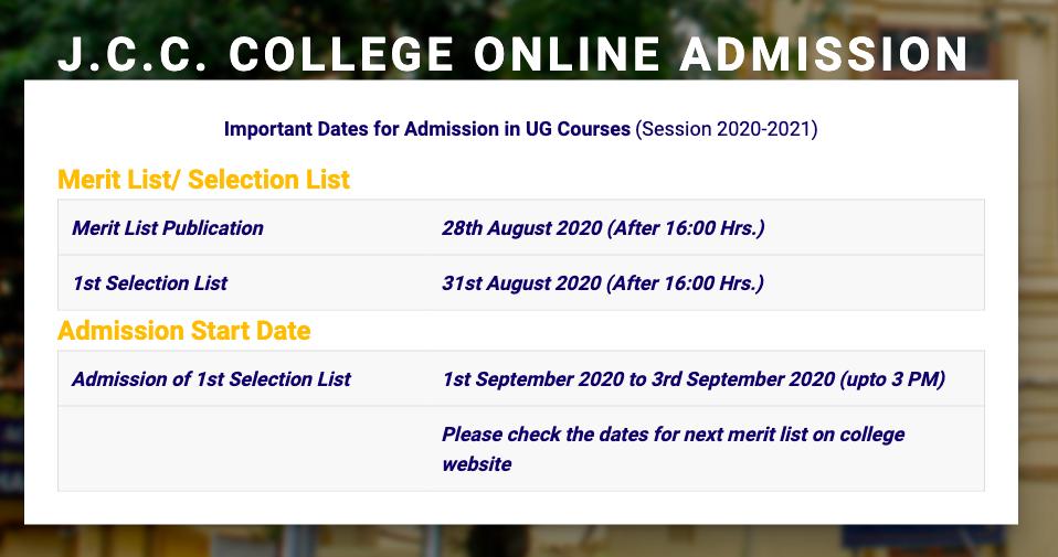 Jogesh Chandra Chaudhuri College merit list Schedule 2020-21