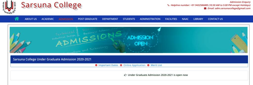 sarsuna college admission merit list 2020 notice