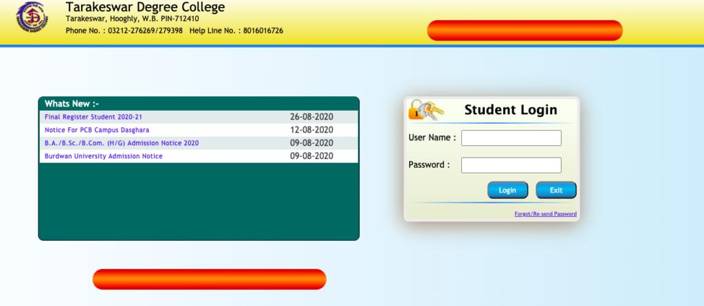 Tarakeswar Degree College Admission Merit list (Final) Window