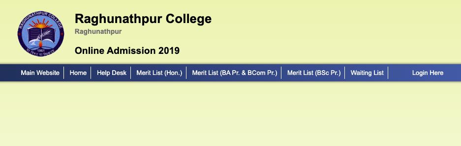 Raghunathpur college merit list downloading screen & links