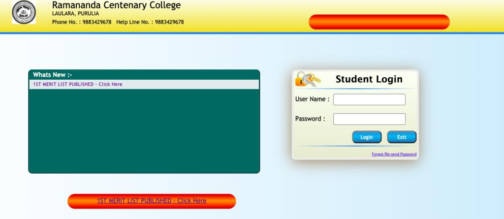 ramananda centary college merit list downloading screen