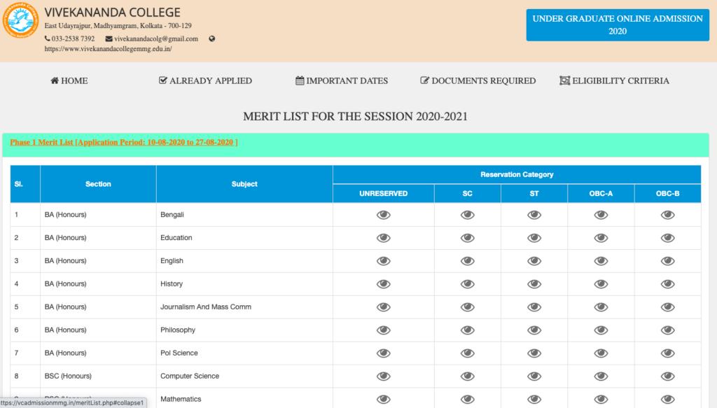 madhyamgram vivekananda college admission 2020-21 merit list notice