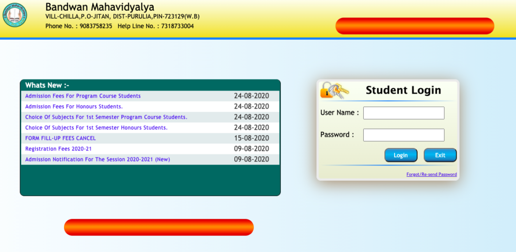 Bandwan Mahavidyalaya Merit List downloading process screen