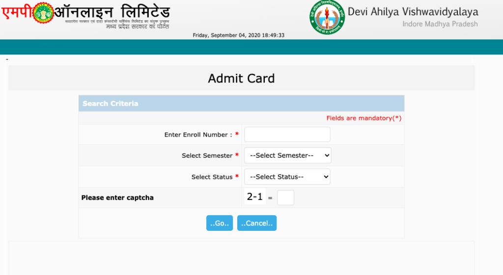 davv admit card 2020-21 download exam dates