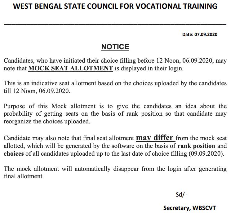 wbscvt iti mock seat allotment notice 2020-21