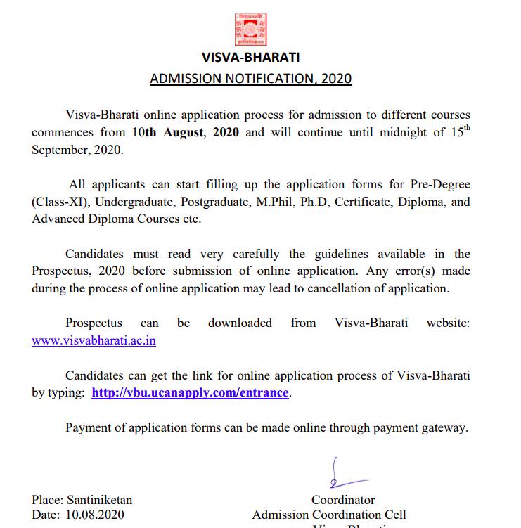 visva bharati university merit list 2020-21 download links available soon