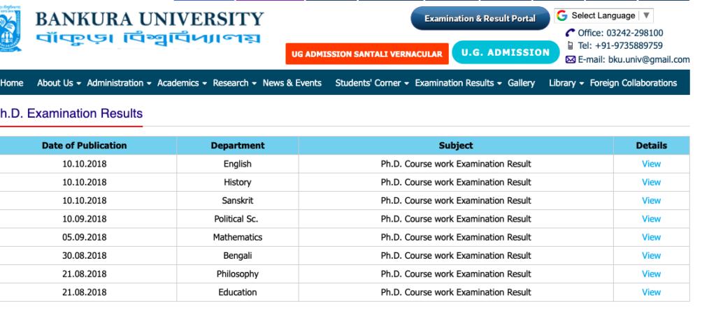 procedure to check bankura university results
