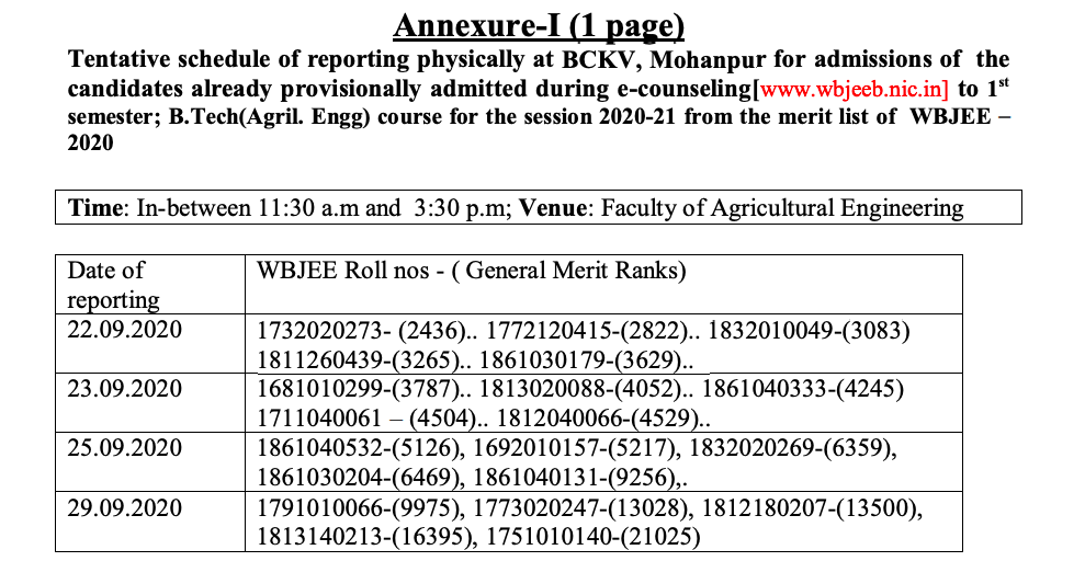 bckv reporting dates for online counselling - admission through wbjee counselling b.tech agriculture