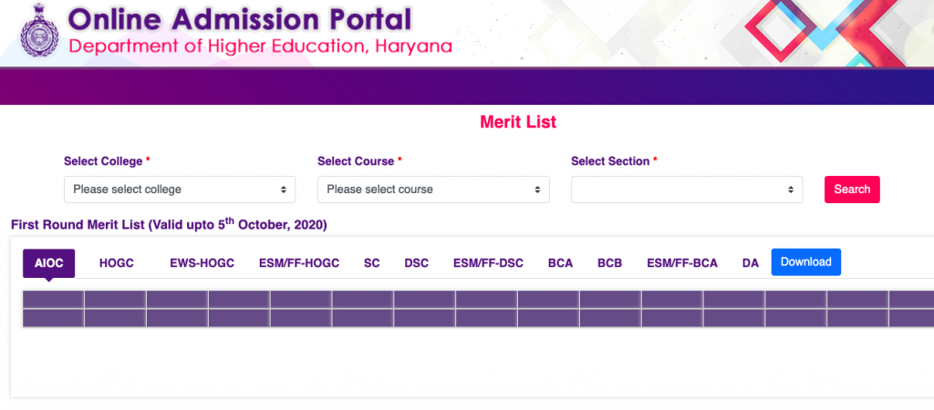 dheadmissions.nic.in hisar merit list downloading window