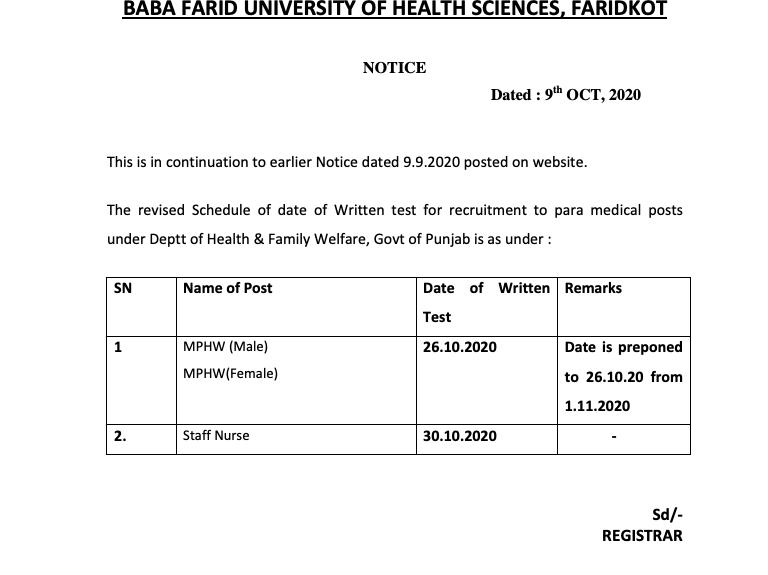 bfuhs mphw exam date 2020 notice released schedule check online