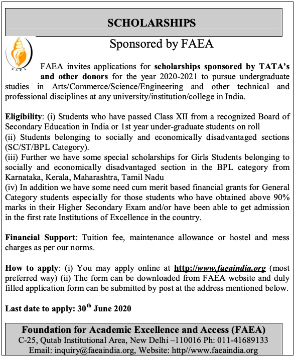 FAEA Scholarship 2020 Sponsored by  TATA any more details please visit www.jobsandhan.com