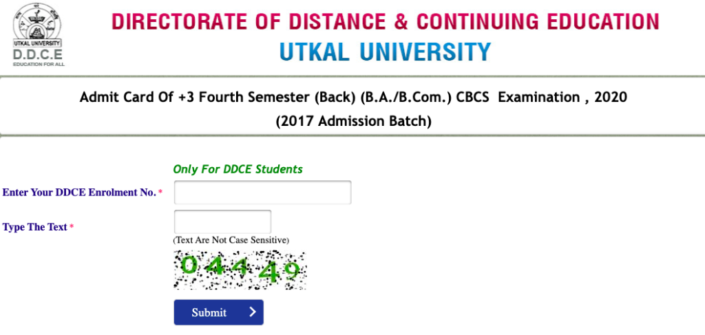 utkal university admit card 2020 downloading screen