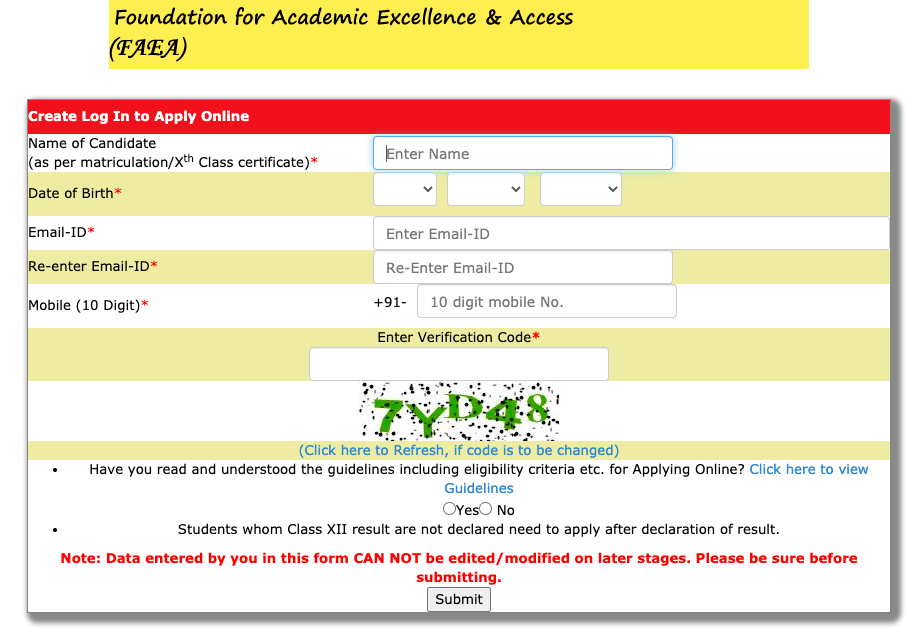 FAEA Scholarship 2020 online application form