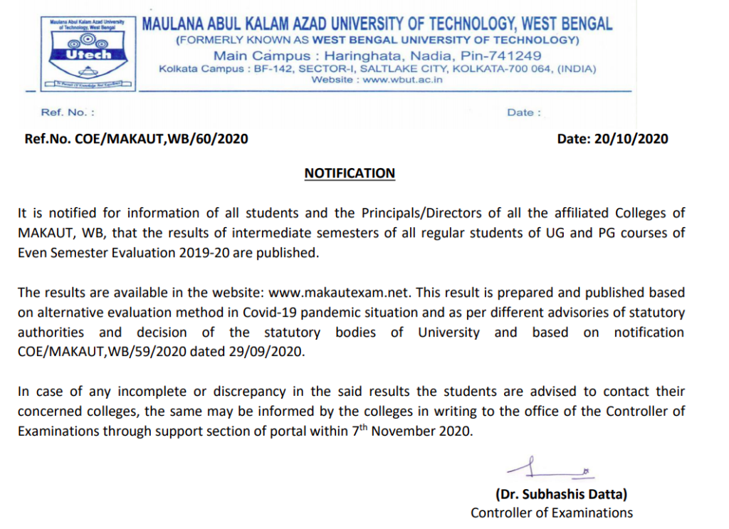 makaut interediate semester result release notice of all ug, pg exams - UG and PG courses of Even Semester Evaluation